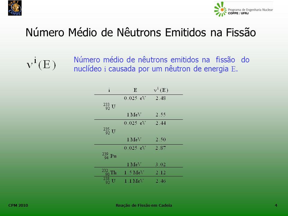 CPM 2010 Reação de Fissão em Cadeia4 Número Médio de Nêutrons Emitidos na Fissão Número médio de nêutrons emitidos na fissão do nuclídeo i causada por