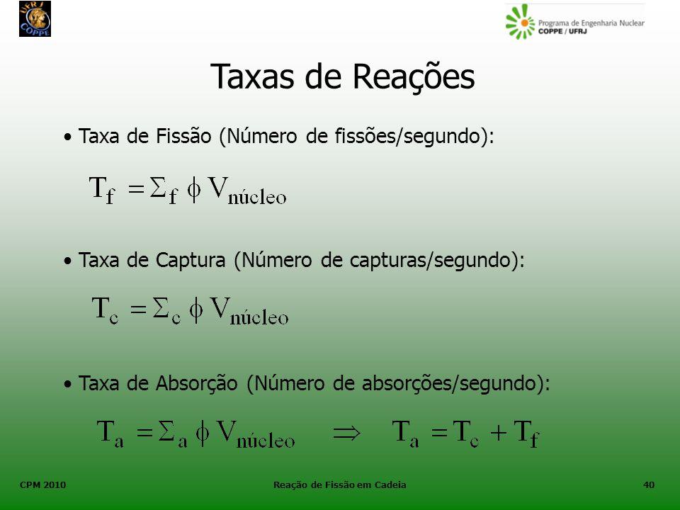 CPM 2010 Reação de Fissão em Cadeia40 Taxas de Reações Taxa de Fissão (Número de fissões/segundo): Taxa de Captura (Número de capturas/segundo): Taxa