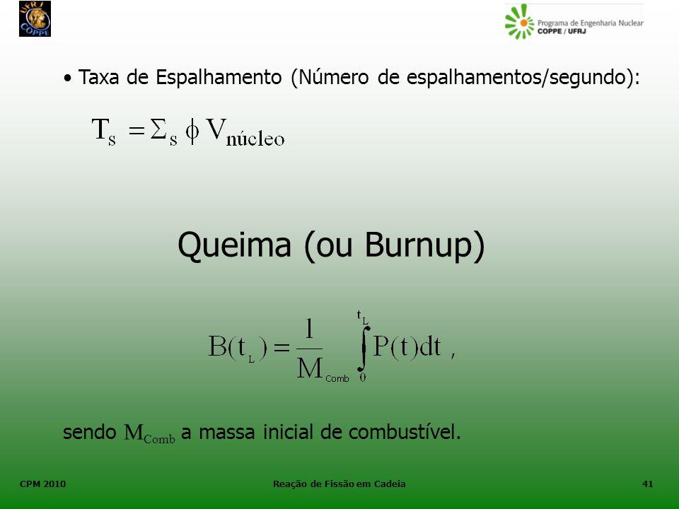 CPM 2010 Reação de Fissão em Cadeia41 Taxa de Espalhamento (Número de espalhamentos/segundo): Queima (ou Burnup) sendo M Comb a massa inicial de combu