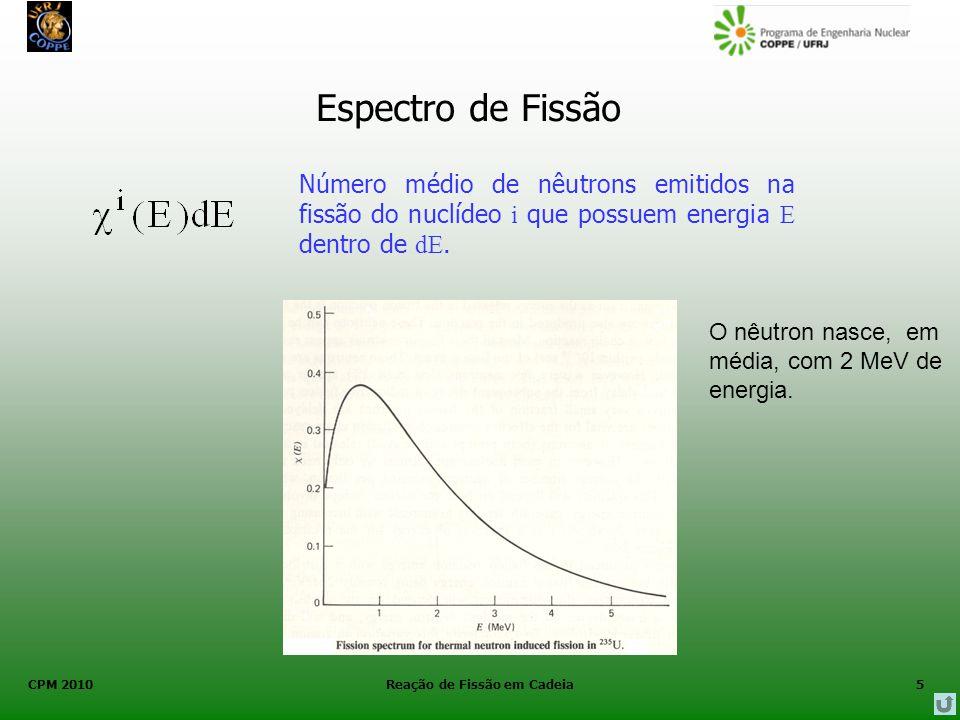 CPM 2010 Reação de Fissão em Cadeia5 Espectro de Fissão Número médio de nêutrons emitidos na fissão do nuclídeo i que possuem energia E dentro de dE.