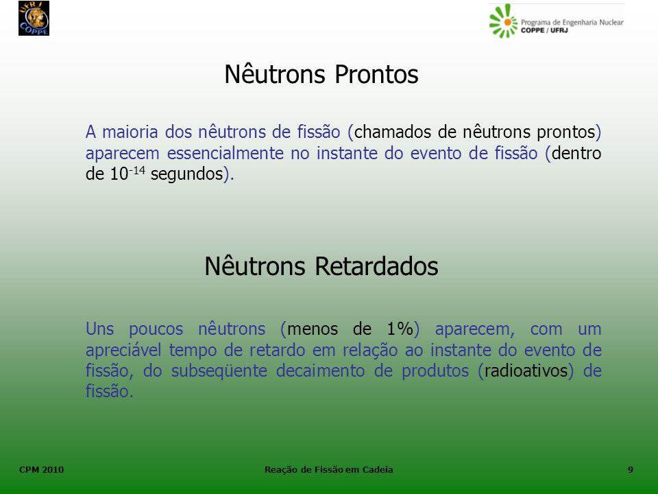 CPM 2010 Reação de Fissão em Cadeia9 Nêutrons Prontos A maioria dos nêutrons de fissão (chamados de nêutrons prontos) aparecem essencialmente no insta
