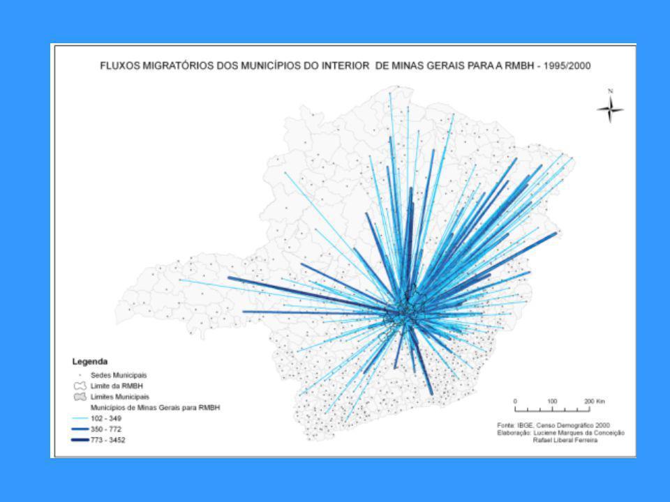 Apesar da importância dos fluxos populacionais entre a RMBH e o restante do Brasil, a maior parte do intercâmbio migratório se dá com o interior de Mi