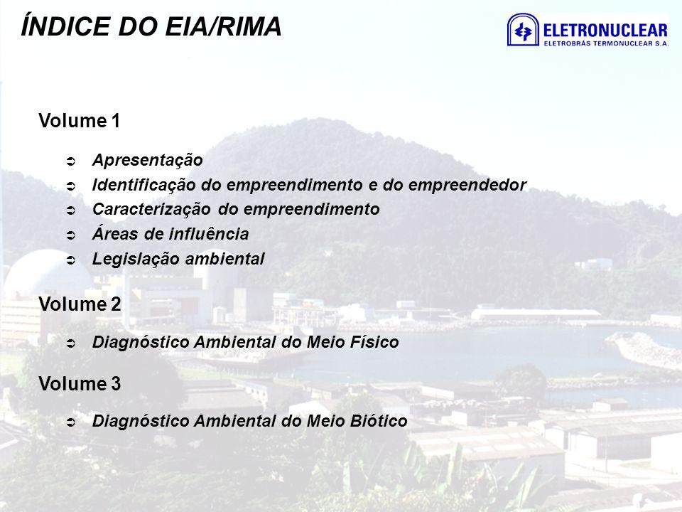 ÍNDICE DO EIA/RIMA Volume 1 Apresentação Identificação do empreendimento e do empreendedor Caracterização do empreendimento Áreas de influência Legisl