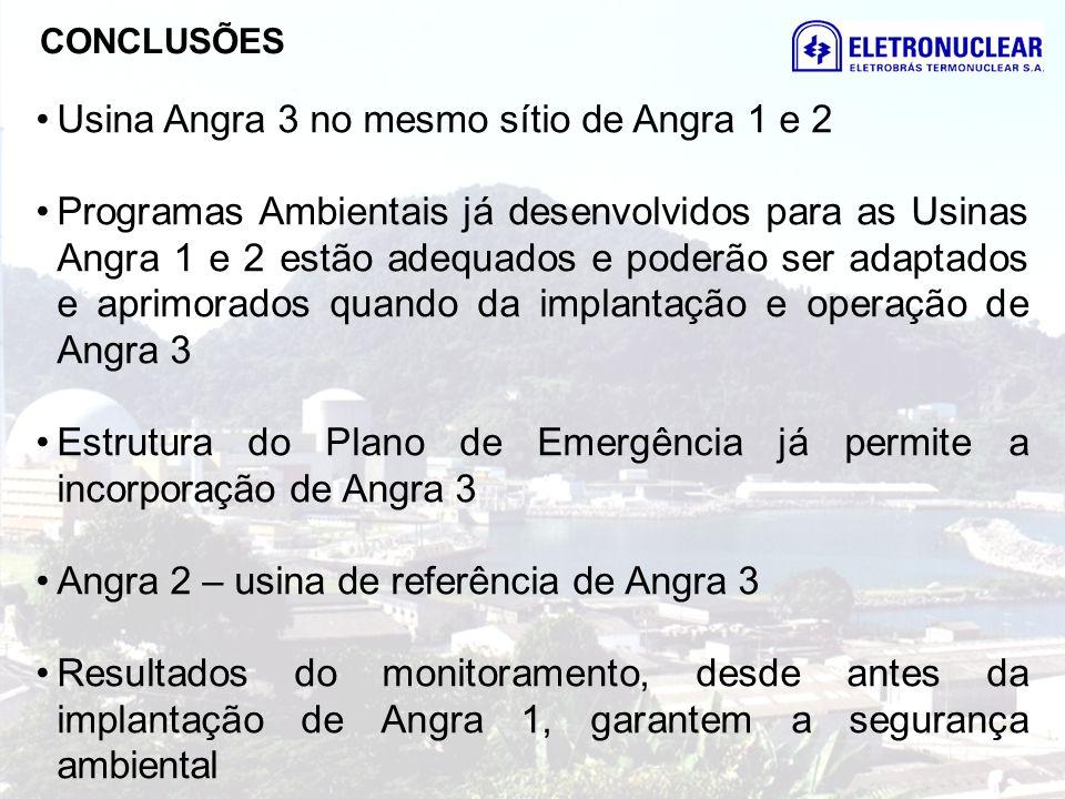 Usina Angra 3 no mesmo sítio de Angra 1 e 2 Programas Ambientais já desenvolvidos para as Usinas Angra 1 e 2 estão adequados e poderão ser adaptados e