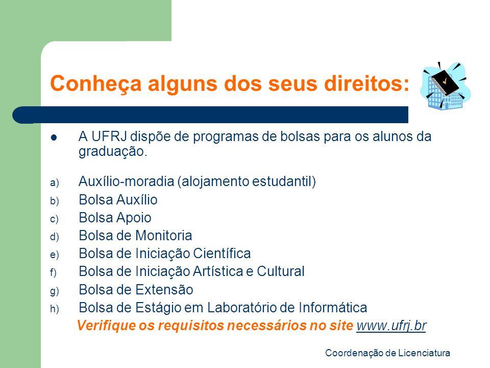Coordenação de Licenciatura Conheça alguns dos seus direitos: A UFRJ dispõe de programas de bolsas para os alunos da graduação. a) Auxílio-moradia (al