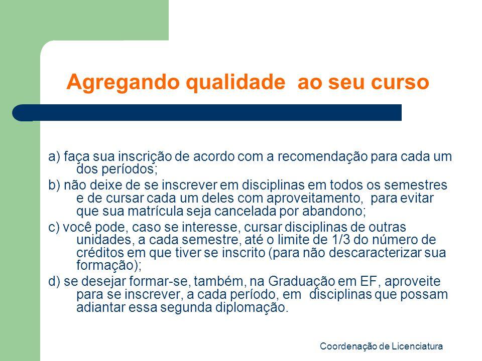Coordenação de Licenciatura a) faça sua inscrição de acordo com a recomendação para cada um dos períodos; b) não deixe de se inscrever em disciplinas