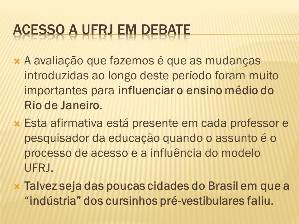 A avaliação que fazemos é que as mudanças introduzidas ao longo deste período foram muito importantes para influenciar o ensino médio do Rio de Janeiro.