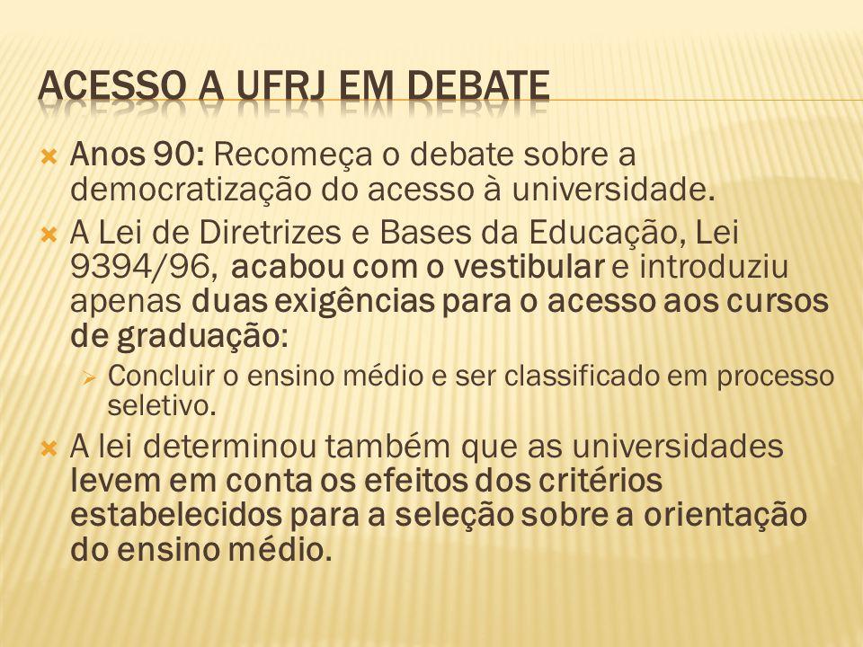 Anos 90: Recomeça o debate sobre a democratização do acesso à universidade.