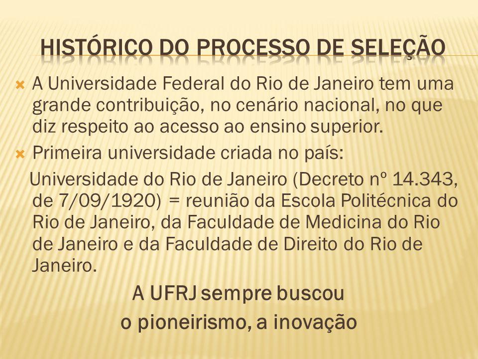 A Universidade Federal do Rio de Janeiro tem uma grande contribuição, no cenário nacional, no que diz respeito ao acesso ao ensino superior.