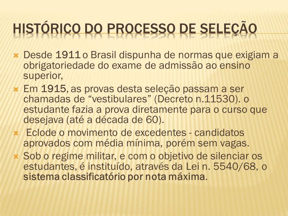 Desde 1911 o Brasil dispunha de normas que exigiam a obrigatoriedade do exame de admissão ao ensino superior, Em 1915, as provas desta seleção passam a ser chamadas de vestibulares (Decreto n.11530).