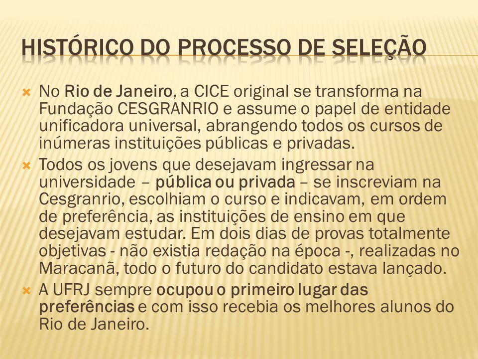 No Rio de Janeiro, a CICE original se transforma na Fundação CESGRANRIO e assume o papel de entidade unificadora universal, abrangendo todos os cursos de inúmeras instituições públicas e privadas.