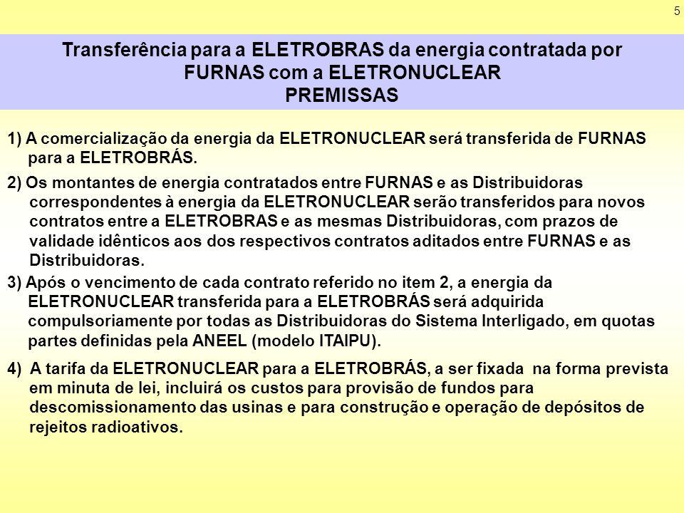 5 Transferência para a ELETROBRAS da energia contratada por FURNAS com a ELETRONUCLEAR PREMISSAS 1) A comercialização da energia da ELETRONUCLEAR será transferida de FURNAS para a ELETROBRÁS.