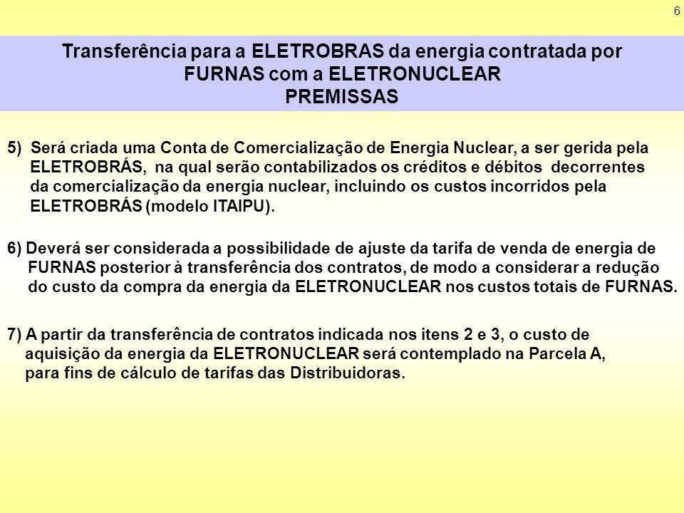 6 Transferência para a ELETROBRAS da energia contratada por FURNAS com a ELETRONUCLEAR PREMISSAS 7) A partir da transferência de contratos indicada nos itens 2 e 3, o custo de aquisição da energia da ELETRONUCLEAR será contemplado na Parcela A, para fins de cálculo de tarifas das Distribuidoras.