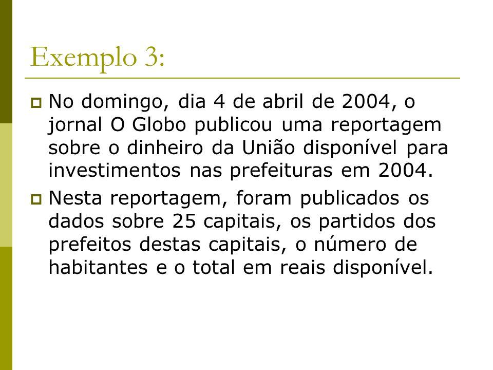 Exemplo 3: No domingo, dia 4 de abril de 2004, o jornal O Globo publicou uma reportagem sobre o dinheiro da União disponível para investimentos nas pr