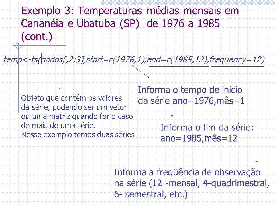 Exemplo 3: Temperaturas médias mensais em Cananéia e Ubatuba (SP) de 1976 a 1985 (cont.) temp<-ts(dados[,2:3],start=c(1976,1),end=c(1985,12),frequency