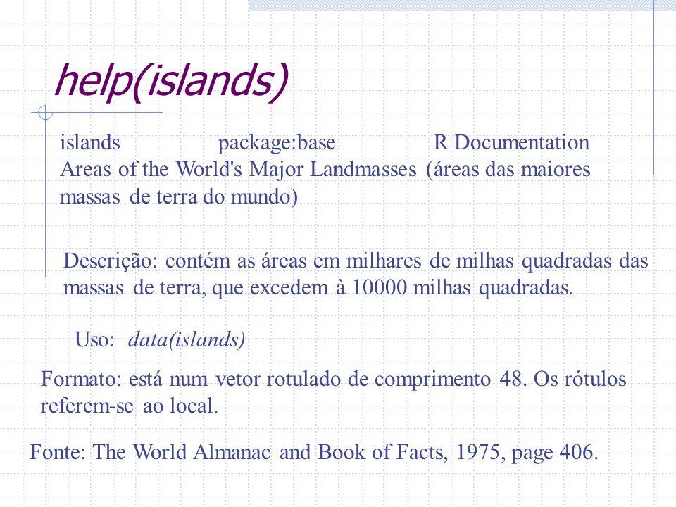help(islands) islands package:base R Documentation Areas of the World's Major Landmasses (áreas das maiores massas de terra do mundo) Descrição: conté