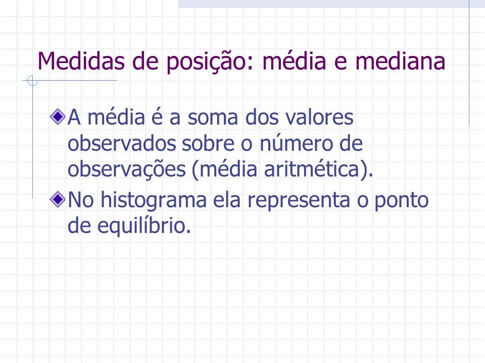 Medidas de posição: média e mediana A média é a soma dos valores observados sobre o número de observações (média aritmética). No histograma ela repres