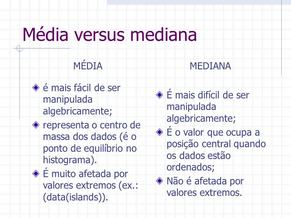 Média versus mediana é mais fácil de ser manipulada algebricamente; representa o centro de massa dos dados (é o ponto de equilíbrio no histograma). É