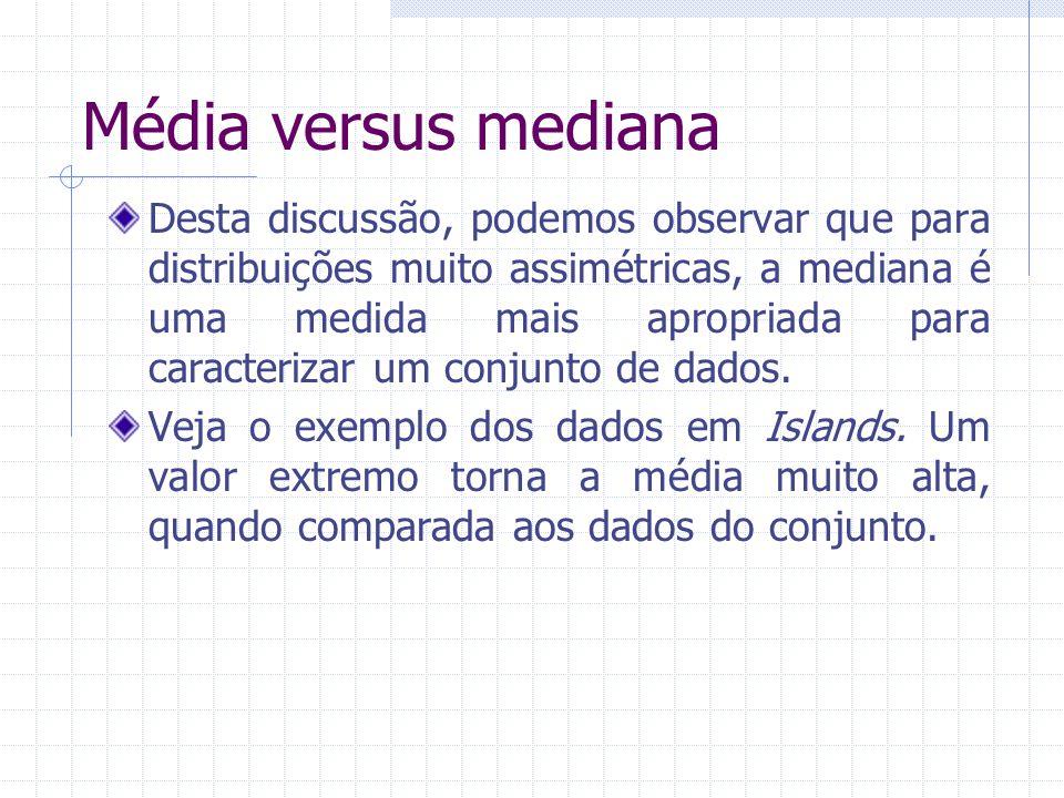 Média versus mediana Desta discussão, podemos observar que para distribuições muito assimétricas, a mediana é uma medida mais apropriada para caracter