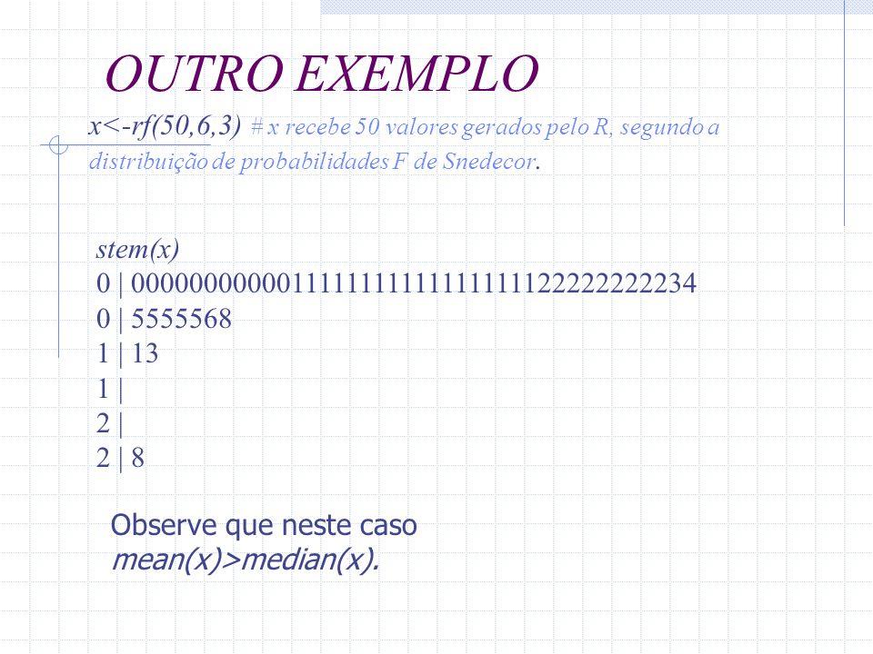 x<-rf(50,6,3) # x recebe 50 valores gerados pelo R, segundo a distribuição de probabilidades F de Snedecor. Observe que neste caso mean(x)>median(x).