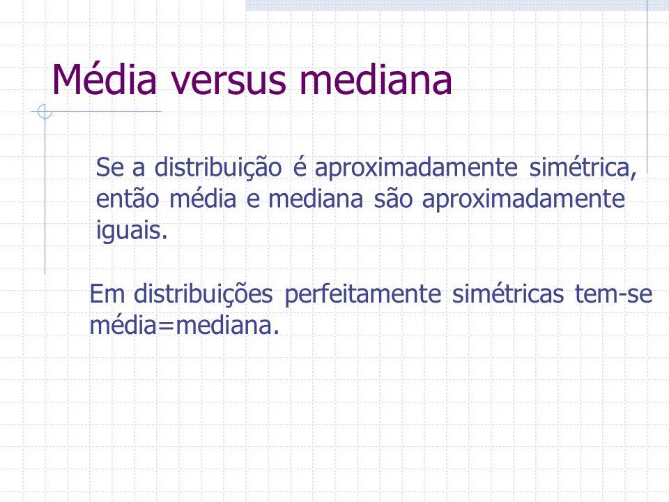 Média versus mediana Se a distribuição é aproximadamente simétrica, então média e mediana são aproximadamente iguais. Em distribuições perfeitamente s
