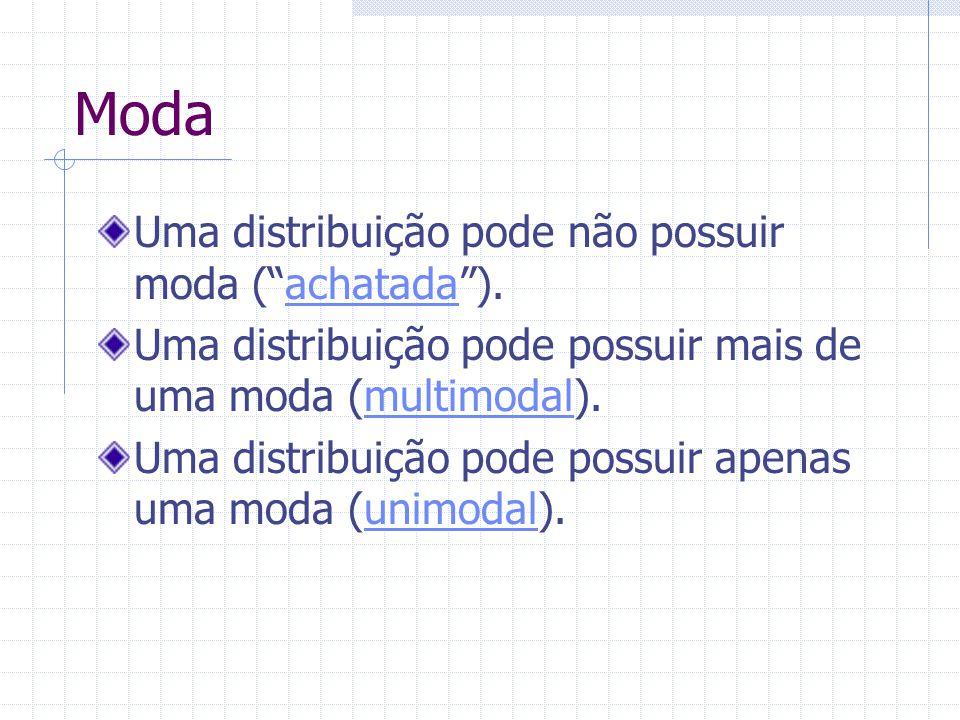 Moda Uma distribuição pode não possuir moda (achatada).achatada Uma distribuição pode possuir mais de uma moda (multimodal).multimodal Uma distribuiçã