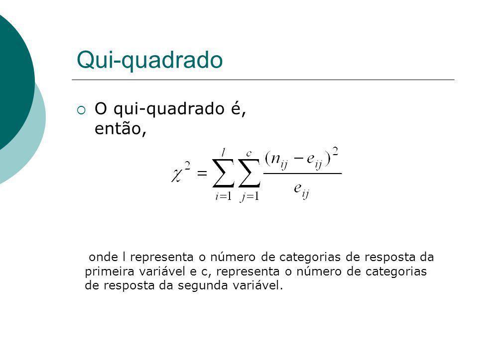 Qui-quadrado O qui-quadrado é, então, onde l representa o número de categorias de resposta da primeira variável e c, representa o número de categorias