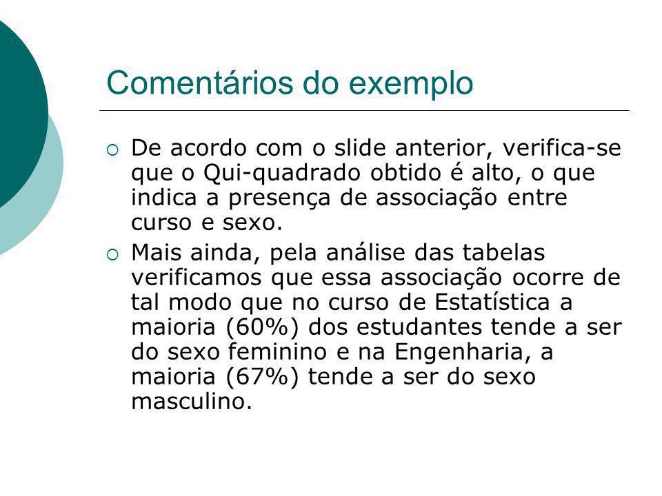 Comentários do exemplo De acordo com o slide anterior, verifica-se que o Qui-quadrado obtido é alto, o que indica a presença de associação entre curso