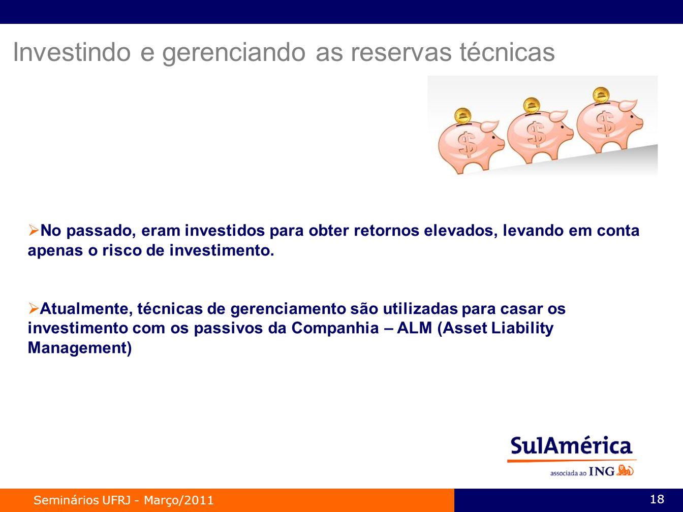 Seminários UFRJ - Março/2011 18 Investindo e gerenciando as reservas técnicas No passado, eram investidos para obter retornos elevados, levando em conta apenas o risco de investimento.