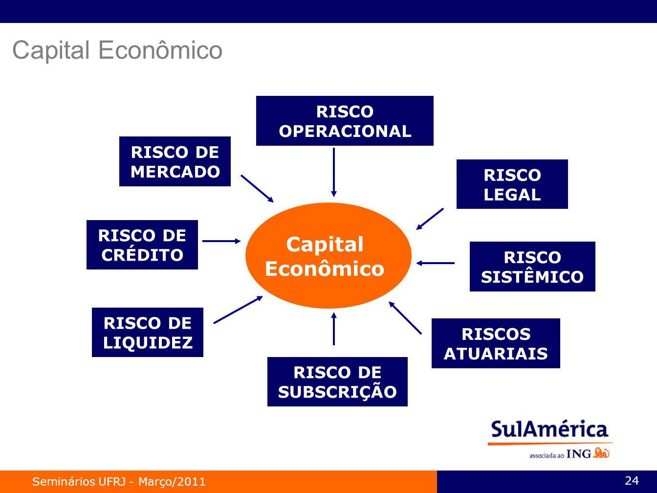 Seminários UFRJ - Março/2011 24 Capital Econômico RISCO DE CRÉDITO RISCO DE LIQUIDEZ RISCO DE SUBSCRIÇÃO RISCOS ATUARIAIS RISCO SISTÊMICO RISCO OPERACIONAL RISCO LEGAL RISCO DE MERCADO Capital Econômico
