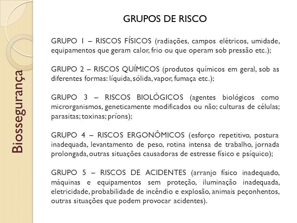 GRUPOS DE RISCO GRUPO 1 – RISCOS FÍSICOS (radiações, campos elétricos, umidade, equipamentos que geram calor, frio ou que operam sob pressão etc.); GRUPO 2 – RISCOS QUÍMICOS (produtos químicos em geral, sob as diferentes formas: líquida, sólida, vapor, fumaça etc.); GRUPO 3 – RISCOS BIOLÓGICOS (agentes biológicos como microrganismos, geneticamente modificados ou não; culturas de células; parasitas; toxinas; príons); GRUPO 4 – RISCOS ERGONÔMICOS (esforço repetitivo, postura inadequada, levantamento de peso, rotina intensa de trabalho, jornada prolongada, outras situações causadoras de estresse físico e psíquico); GRUPO 5 – RISCOS DE ACIDENTES (arranjo físico inadequado, máquinas e equipamentos sem proteção, iluminação inadequada, eletricidade, probabilidade de incêndio e explosão, animais peçonhentos, outras situações que podem provocar acidentes).Biossegurança