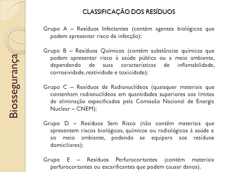 CLASSIFICAÇÃO DOS RESÍDUOS Grupo A – Resíduos Infectantes (contém agentes biológicos que podem apresentar risco de infecção); Grupo B – Resíduos Químicos (contém substâncias químicas que podem apresentar risco à saúde pública ou a meio ambiente, dependendo de suas características de inflamabilidade, corrosividade, reatividade e toxicidade); Grupo C – Resíduos de Radionuclídeos (quaisquer materiais que contenham radionuclídeos em quantidades superiores aos limites de eliminação especificados pela Comissão Nacional de Energia Nuclear – CNEM); Grupo D – Resíduos Sem Risco (não contêm materiais que apresentem riscos biológicos, químicos ou radiológicos à saúde e ao meio ambiente, podendo se equipara aos resíduos domiciliares); Grupo E – Resíduos Perfurocortantes (contém materiais perfurocortantes ou escarificantes que podem causar danos).Biossegurança