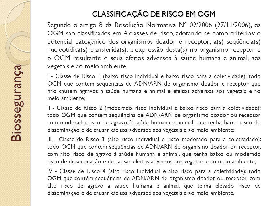 CLASSIFICAÇÃO DE RISCO EM OGM Segundo o artigo 8 da Resolução Normativa Nº 02/2006 (27/11/2006), os OGM são classificados em 4 classes de risco, adotando-se como critérios: o potencial patogênico dos organismos doador e receptor; a(s) seqüência(s) nucleotídica(s) transferida(s); a expressão desta(s) no organismo receptor e o OGM resultante e seus efeitos adversos à saúde humana e animal, aos vegetais e ao meio ambiente.