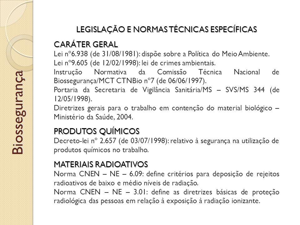 LEGISLAÇÃO E NORMAS TÉCNICAS ESPECÍFICAS CARÁTER GERAL Lei nº6.938 (de 31/08/1981): dispõe sobre a Política do Meio Ambiente.