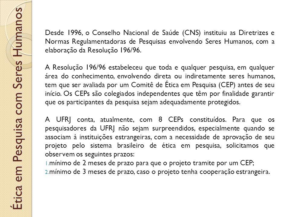 Ética em Pesquisa com Seres Humanos Desde 1996, o Conselho Nacional de Saúde (CNS) instituiu as Diretrizes e Normas Regulamentadoras de Pesquisas envolvendo Seres Humanos, com a elaboração da Resolução 196/96.