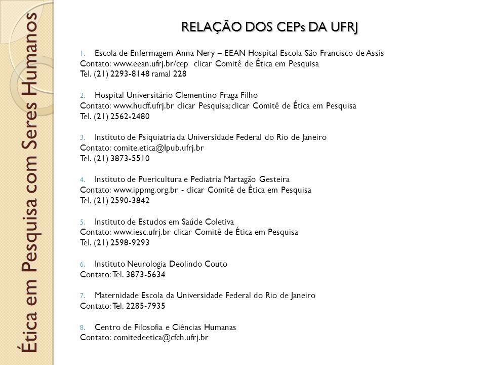RELAÇÃO DOS CEPs DA UFRJ 1.