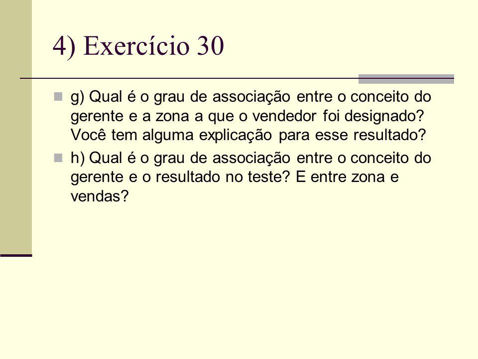 4) Exercício 30 g) Qual é o grau de associação entre o conceito do gerente e a zona a que o vendedor foi designado.