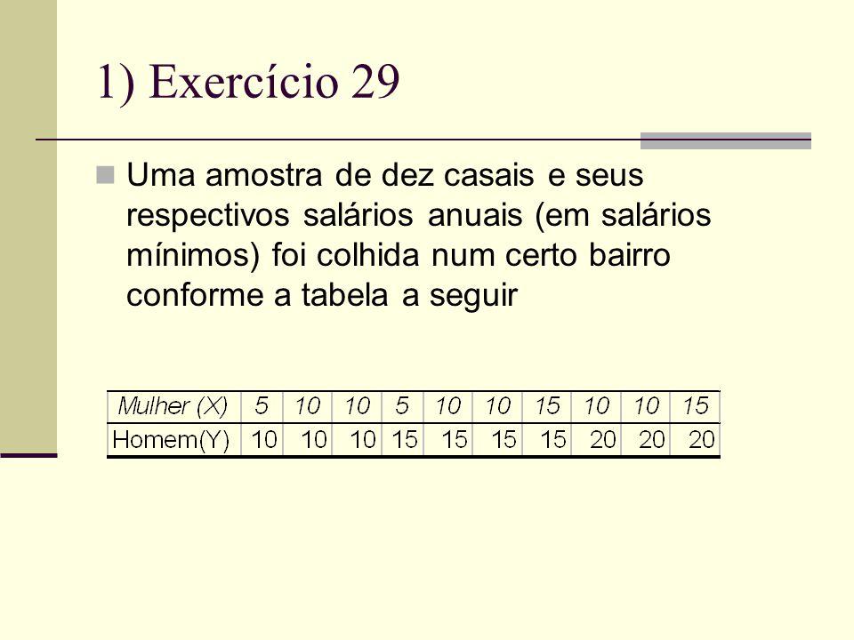 1) Exercício 29 Uma amostra de dez casais e seus respectivos salários anuais (em salários mínimos) foi colhida num certo bairro conforme a tabela a seguir