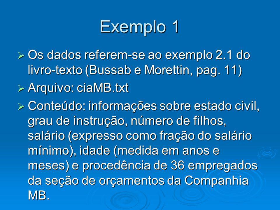 Exemplo 1 Os dados referem-se ao exemplo 2.1 do livro-texto (Bussab e Morettin, pag. 11) Os dados referem-se ao exemplo 2.1 do livro-texto (Bussab e M