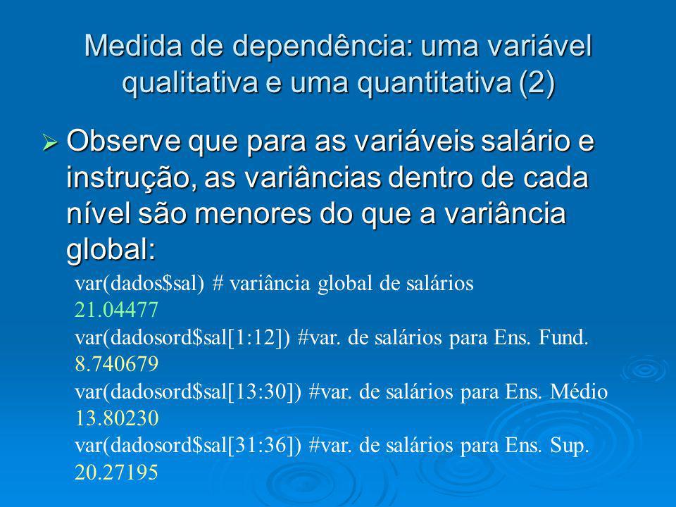 Medida de dependência: uma variável qualitativa e uma quantitativa (2) Observe que para as variáveis salário e instrução, as variâncias dentro de cada