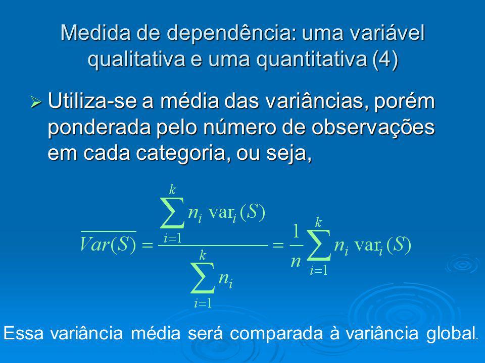 Medida de dependência: uma variável qualitativa e uma quantitativa (4) Utiliza-se a média das variâncias, porém ponderada pelo número de observações e