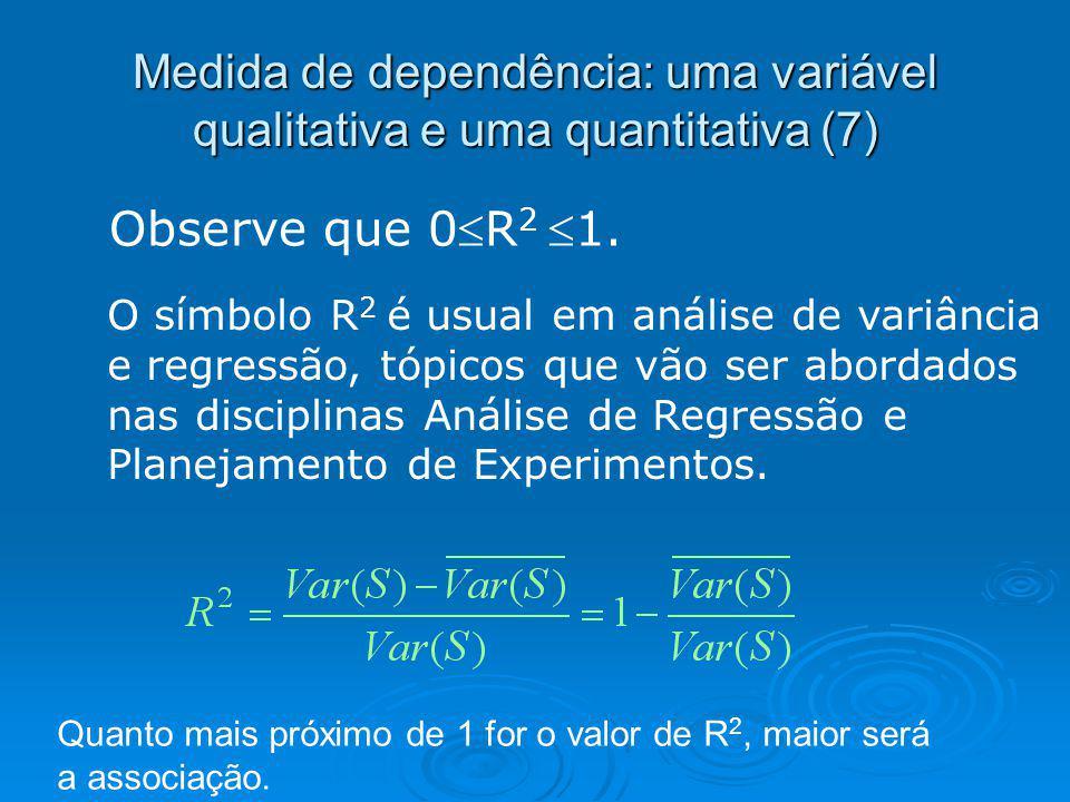 Medida de dependência: uma variável qualitativa e uma quantitativa (7) Observe que 0R 21. O símbolo R 2 é usual em análise de variância e regressão, t
