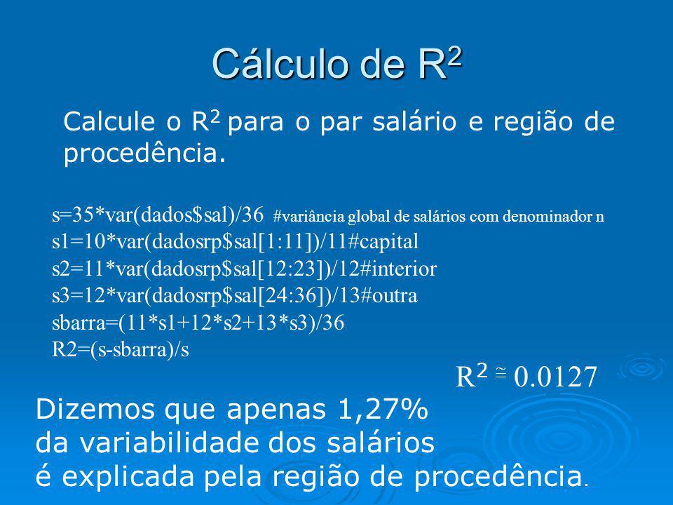 Cálculo de R 2 Calcule o R 2 para o par salário e região de procedência. s=35*var(dados$sal)/36 #variância global de salários com denominador n s1=10*