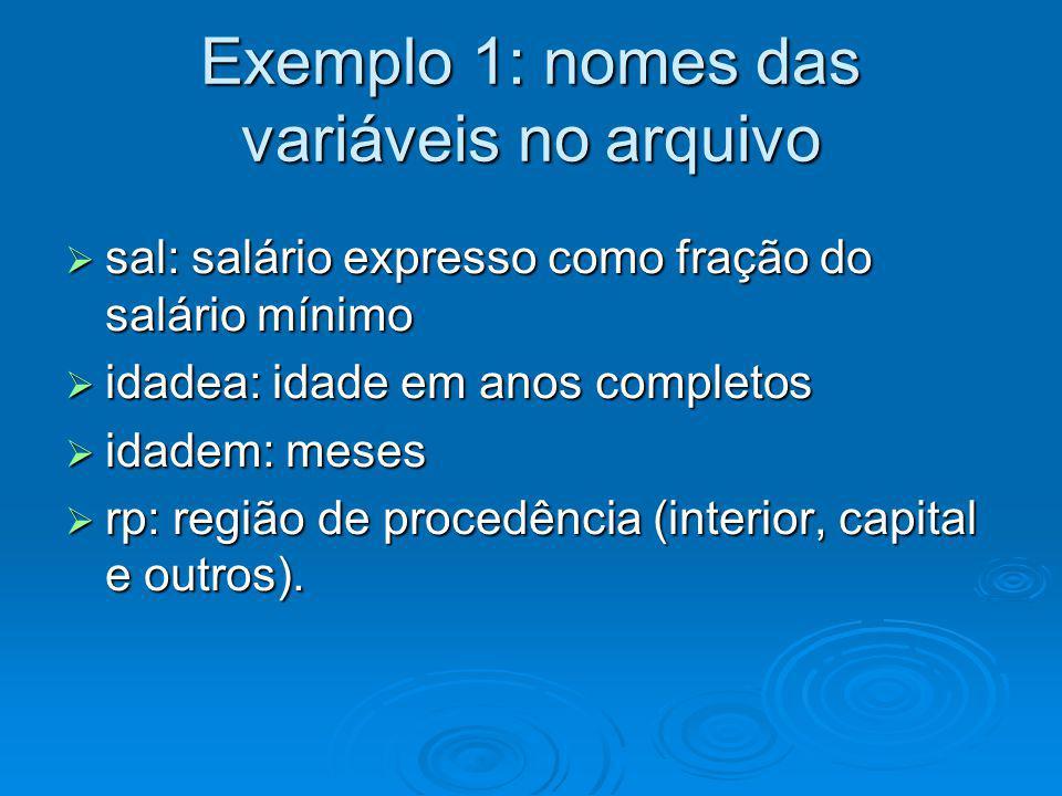 Exemplo 1: nomes das variáveis no arquivo sal: salário expresso como fração do salário mínimo sal: salário expresso como fração do salário mínimo idad