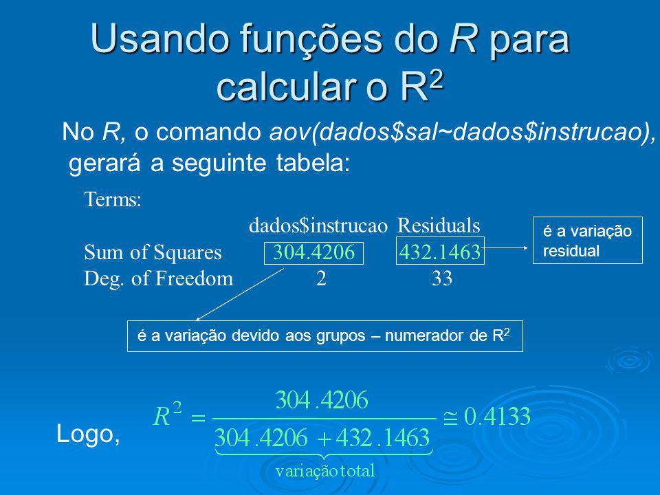 Usando funções do R para calcular o R 2 No R, o comando aov(dados$sal~dados$instrucao), gerará a seguinte tabela: Terms: dados$instrucao Residuals Sum