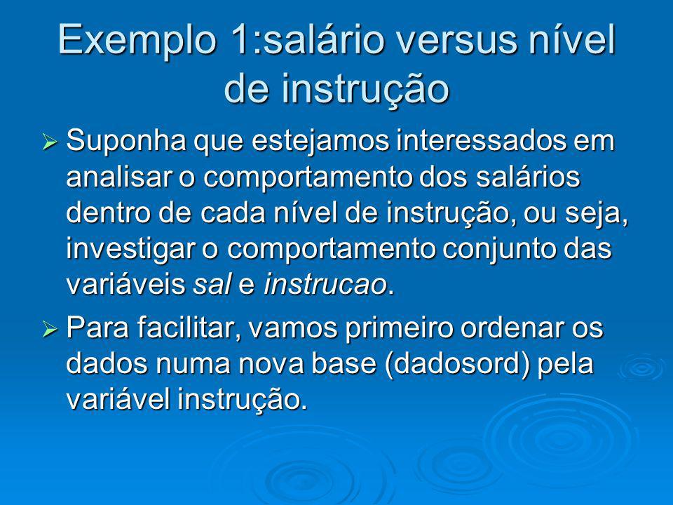 Ordenando por instrução dados=read.table(http://www.im.ufrj.br/~flavia/aed06/ciaMB.txt,header=T) dados=read.table(http://www.im.ufrj.br/~flavia/aed06/ciaMB.txt,header=T) indice=order(dados$instrucao) indice=order(dados$instrucao) dadosord=dados[indice,] dadosord=dados[indice,] table(dados$instrucao) table(dados$instrucao) F M S 12 18 6 Logo, em dadosord as observações de 1 a 12 são de empregados com Ensino Fundamental, de 13 a 30 com Ensino Médio e de 31 a 36 com Ensino Superior.