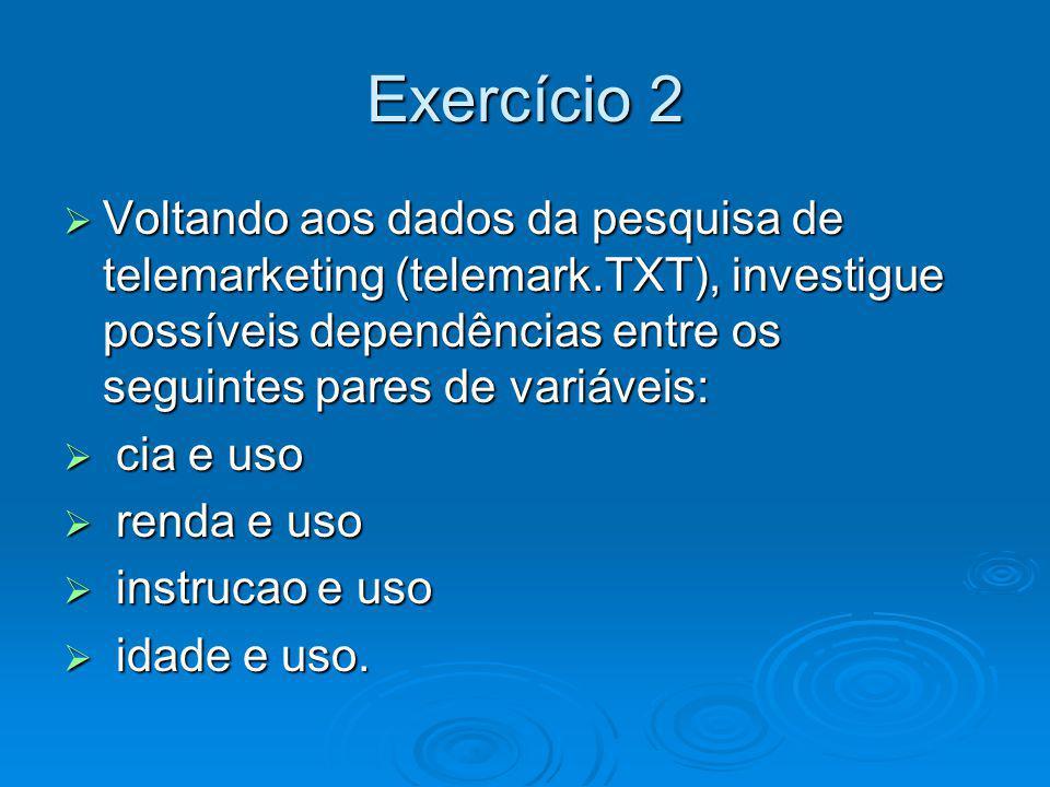 Exercício 2 Voltando aos dados da pesquisa de telemarketing (telemark.TXT), investigue possíveis dependências entre os seguintes pares de variáveis: V