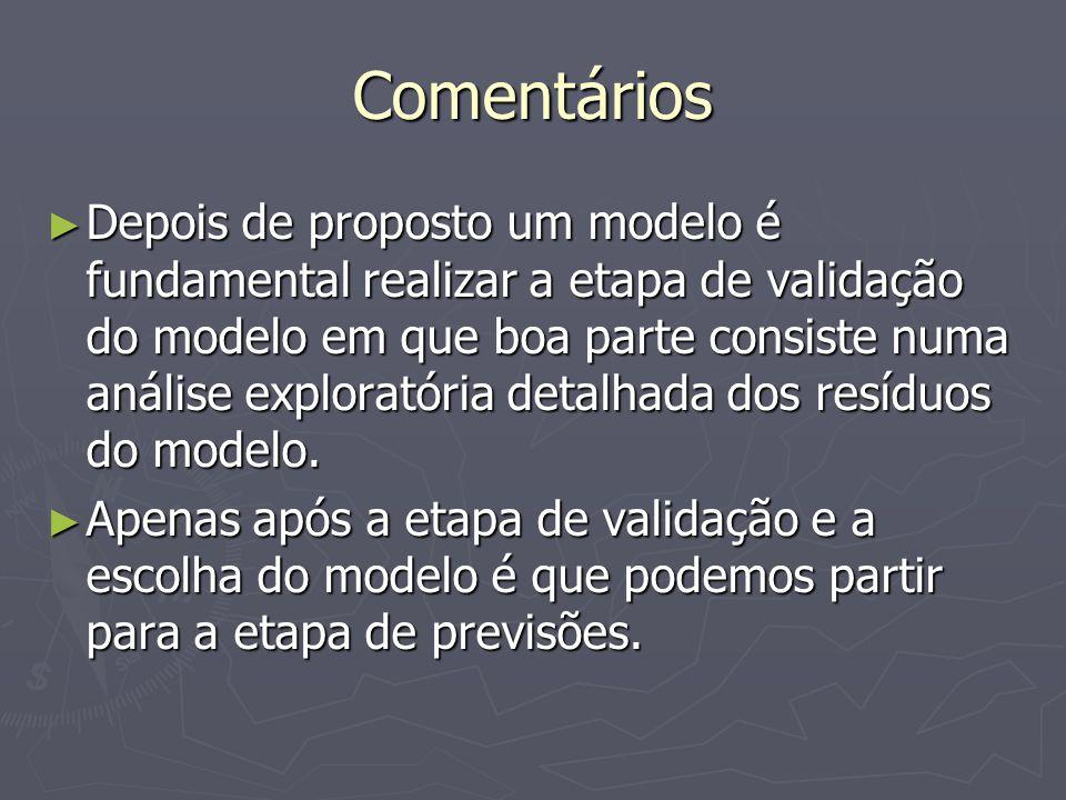 Comentários Depois de proposto um modelo é fundamental realizar a etapa de validação do modelo em que boa parte consiste numa análise exploratória detalhada dos resíduos do modelo.
