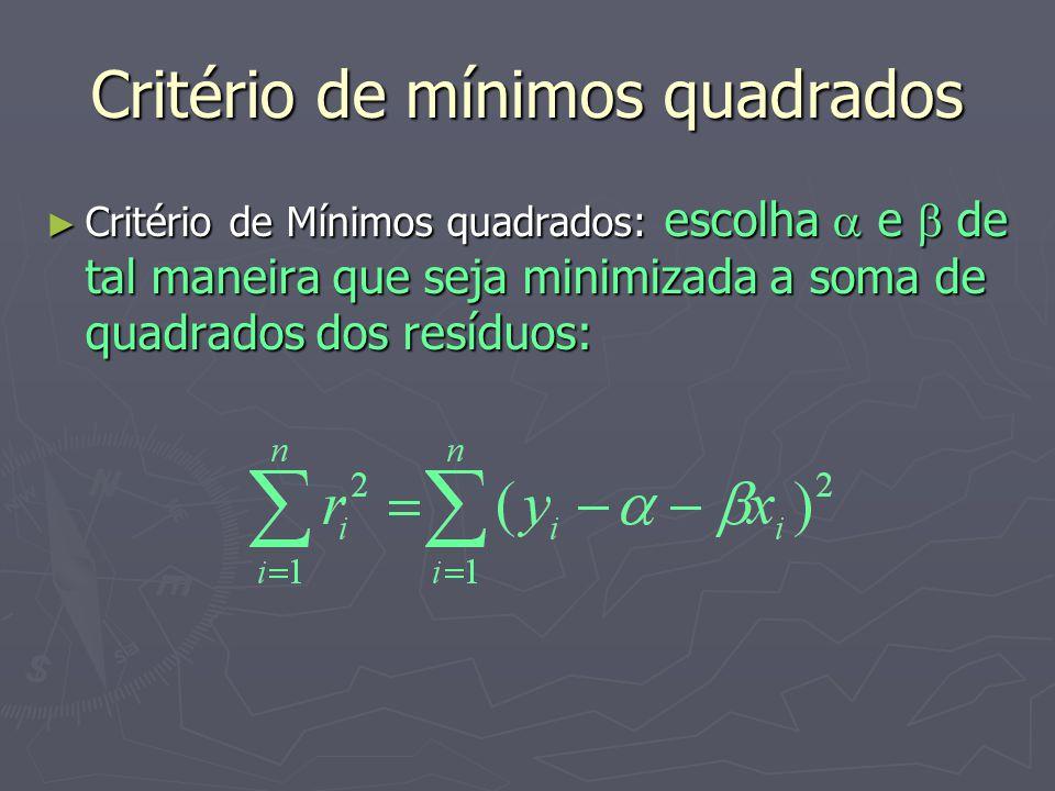 Critério de mínimos quadrados Critério de Mínimos quadrados: escolha e de tal maneira que seja minimizada a soma de quadrados dos resíduos: Critério de Mínimos quadrados: escolha e de tal maneira que seja minimizada a soma de quadrados dos resíduos: