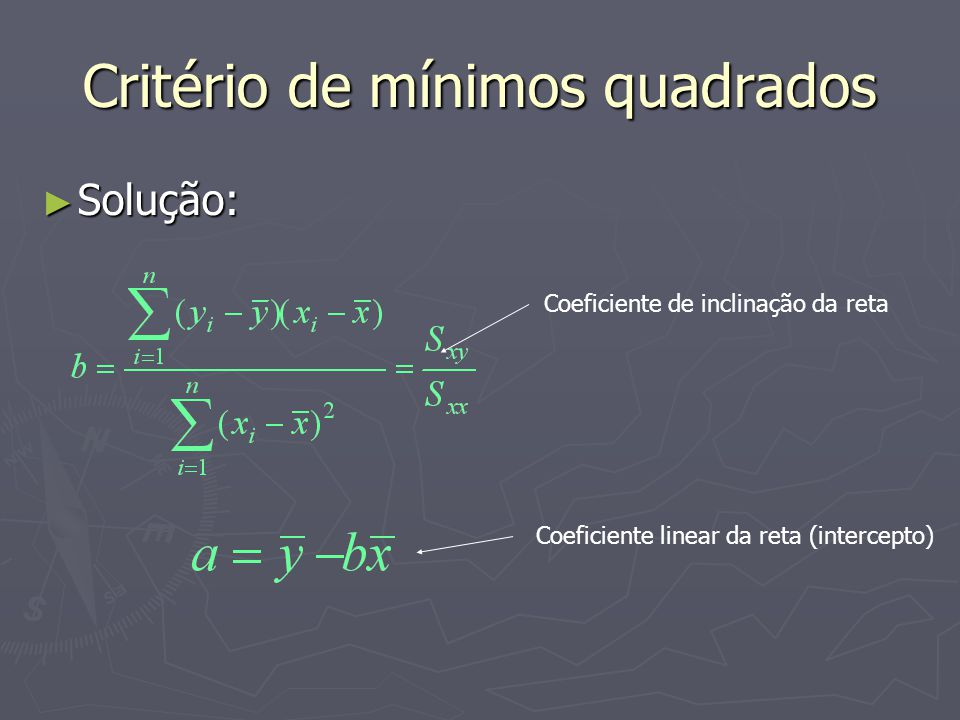 Critério de mínimos quadrados Solução: Solução: Coeficiente de inclinação da reta Coeficiente linear da reta (intercepto)